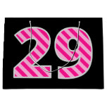 "[ Thumbnail: Fun Pink Striped ""29""; Happy 29th Birthday; Name Gift Bag ]"