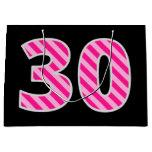 "[ Thumbnail: Fun Pink Striped ""30""; Happy 30th Birthday; Name Gift Bag ]"
