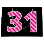 "[ Thumbnail: Fun Pink Striped ""31""; Happy 31st Birthday; Name Gift Bag ]"