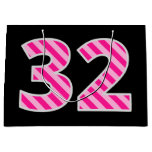 "[ Thumbnail: Fun Pink Striped ""32""; Happy 32nd Birthday; Name Gift Bag ]"