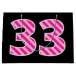 "[ Thumbnail: Fun Pink Striped ""33""; Happy 33rd Birthday; Name Gift Bag ]"
