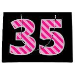 "[ Thumbnail: Fun Pink Striped ""35""; Happy 35th Birthday; Name Gift Bag ]"