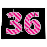"[ Thumbnail: Fun Pink Striped ""36""; Happy 36th Birthday; Name Gift Bag ]"