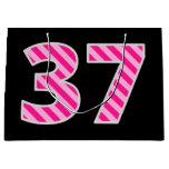 "[ Thumbnail: Fun Pink Striped ""37""; Happy 37th Birthday; Name Gift Bag ]"