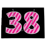 "[ Thumbnail: Fun Pink Striped ""38""; Happy 38th Birthday; Name Gift Bag ]"