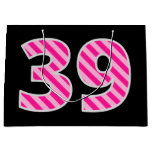 "[ Thumbnail: Fun Pink Striped ""39""; Happy 39th Birthday; Name Gift Bag ]"