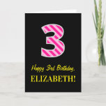 "[ Thumbnail: Fun Pink Striped ""3""; Happy 3rd Birthday; Name Card ]"