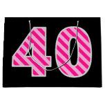 "[ Thumbnail: Fun Pink Striped ""40""; Happy 40th Birthday; Name Gift Bag ]"