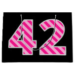 "[ Thumbnail: Fun Pink Striped ""42""; Happy 42nd Birthday; Name Gift Bag ]"