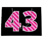 "[ Thumbnail: Fun Pink Striped ""43""; Happy 43rd Birthday; Name Gift Bag ]"