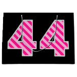 "[ Thumbnail: Fun Pink Striped ""44""; Happy 44th Birthday; Name Gift Bag ]"