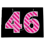 "[ Thumbnail: Fun Pink Striped ""46""; Happy 46th Birthday; Name Gift Bag ]"