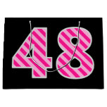 "[ Thumbnail: Fun Pink Striped ""48""; Happy 48th Birthday; Name Gift Bag ]"