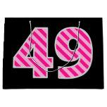 "[ Thumbnail: Fun Pink Striped ""49""; Happy 49th Birthday; Name Gift Bag ]"