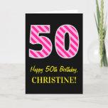 "[ Thumbnail: Fun Pink Striped ""50""; Happy 50th Birthday; Name Card ]"