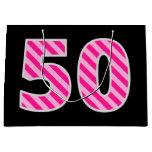 "[ Thumbnail: Fun Pink Striped ""50""; Happy 50th Birthday; Name Gift Bag ]"