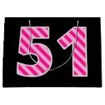 "[ Thumbnail: Fun Pink Striped ""51""; Happy 51st Birthday; Name Gift Bag ]"