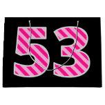 "[ Thumbnail: Fun Pink Striped ""53""; Happy 53rd Birthday; Name Gift Bag ]"