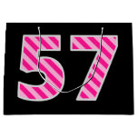 "[ Thumbnail: Fun Pink Striped ""57""; Happy 57th Birthday; Name Gift Bag ]"