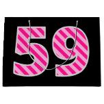 "[ Thumbnail: Fun Pink Striped ""59""; Happy 59th Birthday; Name Gift Bag ]"
