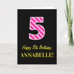 "[ Thumbnail: Fun Pink Striped ""5""; Happy 5th Birthday; Name Card ]"