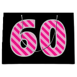 "[ Thumbnail: Fun Pink Striped ""60""; Happy 60th Birthday; Name Gift Bag ]"