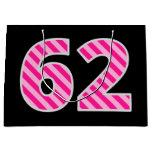 "[ Thumbnail: Fun Pink Striped ""62""; Happy 62nd Birthday; Name Gift Bag ]"