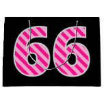 "[ Thumbnail: Fun Pink Striped ""66""; Happy 66th Birthday; Name Gift Bag ]"