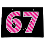 "[ Thumbnail: Fun Pink Striped ""67""; Happy 67th Birthday; Name Gift Bag ]"