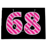"[ Thumbnail: Fun Pink Striped ""68""; Happy 68th Birthday; Name Gift Bag ]"