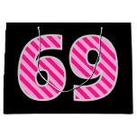 "[ Thumbnail: Fun Pink Striped ""69""; Happy 69th Birthday; Name Gift Bag ]"