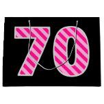 "[ Thumbnail: Fun Pink Striped ""70""; Happy 70th Birthday; Name Gift Bag ]"