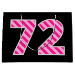 "[ Thumbnail: Fun Pink Striped ""72""; Happy 72nd Birthday; Name Gift Bag ]"