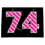 "[ Thumbnail: Fun Pink Striped ""74""; Happy 74th Birthday; Name Gift Bag ]"
