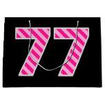 "[ Thumbnail: Fun Pink Striped ""77""; Happy 77th Birthday; Name Gift Bag ]"