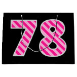 "[ Thumbnail: Fun Pink Striped ""78""; Happy 78th Birthday; Name Gift Bag ]"