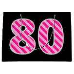 "[ Thumbnail: Fun Pink Striped ""80""; Happy 80th Birthday; Name Gift Bag ]"