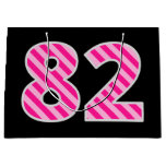 "[ Thumbnail: Fun Pink Striped ""82""; Happy 82nd Birthday; Name Gift Bag ]"