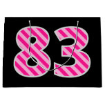 "[ Thumbnail: Fun Pink Striped ""83""; Happy 83rd Birthday; Name Gift Bag ]"
