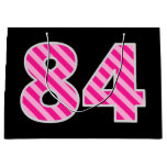 "[ Thumbnail: Fun Pink Striped ""84""; Happy 84th Birthday; Name Gift Bag ]"