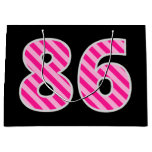 "[ Thumbnail: Fun Pink Striped ""86""; Happy 86th Birthday; Name Gift Bag ]"