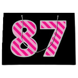 "[ Thumbnail: Fun Pink Striped ""87""; Happy 87th Birthday; Name Gift Bag ]"