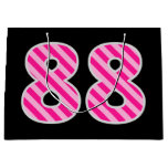"[ Thumbnail: Fun Pink Striped ""88""; Happy 88th Birthday; Name Gift Bag ]"