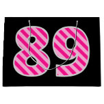 "[ Thumbnail: Fun Pink Striped ""89""; Happy 89th Birthday; Name Gift Bag ]"