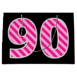 "[ Thumbnail: Fun Pink Striped ""90""; Happy 90th Birthday; Name Gift Bag ]"