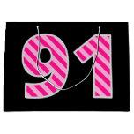 "[ Thumbnail: Fun Pink Striped ""91""; Happy 91st Birthday; Name Gift Bag ]"