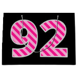 "[ Thumbnail: Fun Pink Striped ""92""; Happy 92nd Birthday; Name Gift Bag ]"
