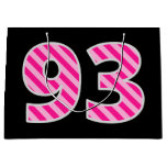 "[ Thumbnail: Fun Pink Striped ""93""; Happy 93rd Birthday; Name Gift Bag ]"