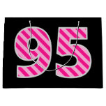 "[ Thumbnail: Fun Pink Striped ""95""; Happy 95th Birthday; Name Gift Bag ]"
