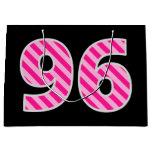 "[ Thumbnail: Fun Pink Striped ""96""; Happy 96th Birthday; Name Gift Bag ]"